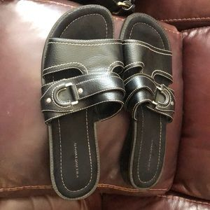 Black slip on sandals. Excellent condition.